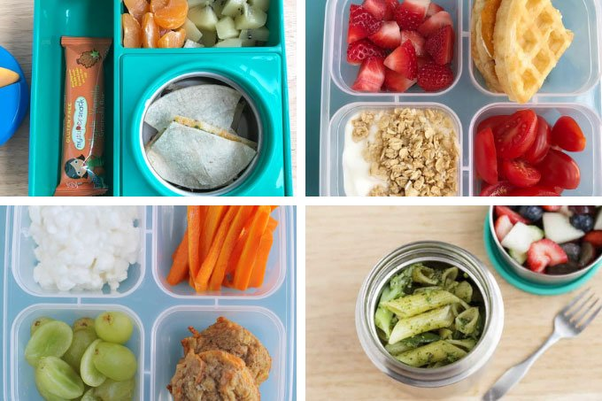kids lunch recipes in a grid of four lunch boxes