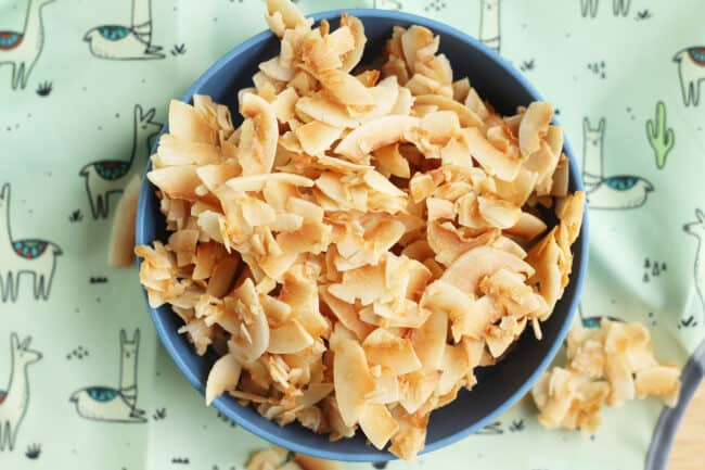 homemade-coconut-chips-in-blue-bowl