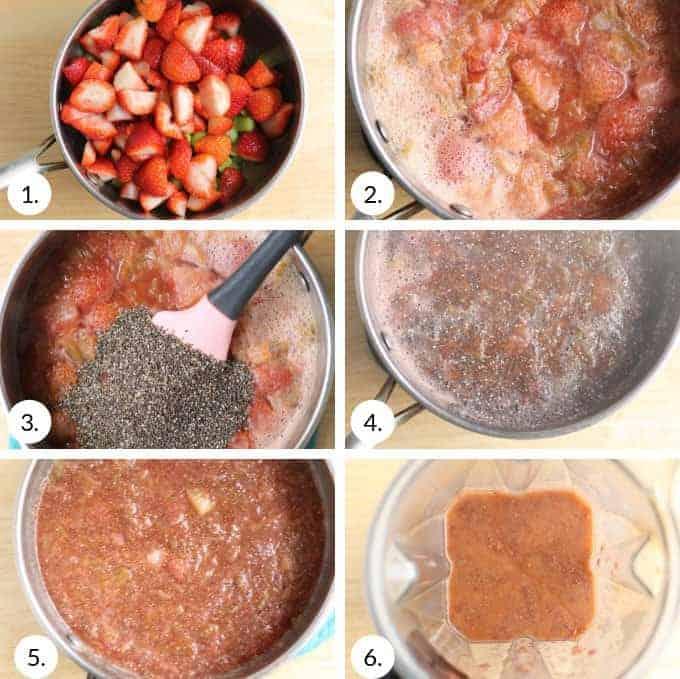 how to make strawberry rhubarb chia jam step by step