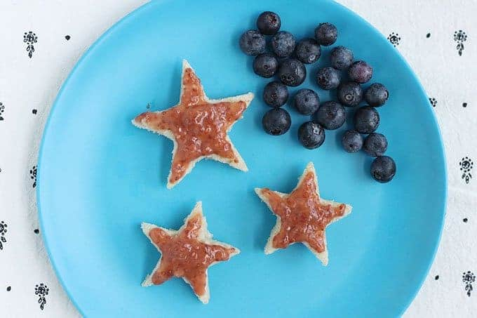 strawberry rhubarb chia jam on star toast with berries