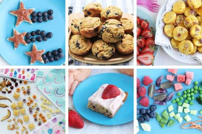 breakfasts and snacks in grid of 6