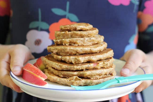 stack of apple pancakes on a plate