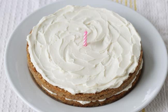banana-birthday-cake-with-pink-candle