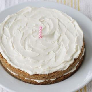 healthy-banana-cake-on-white-platter