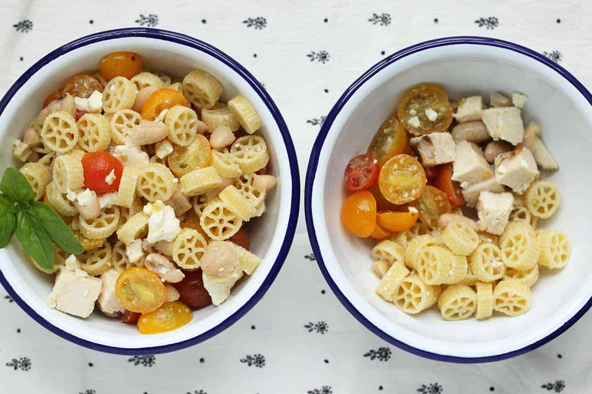 healthy-pasta-salad-in-white-bowls