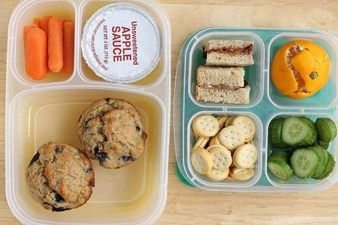 2 kindergarten lunches with packed food