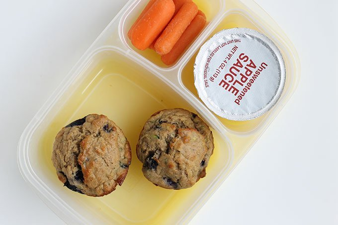 blueberry muffins and applesauce in lunchbox