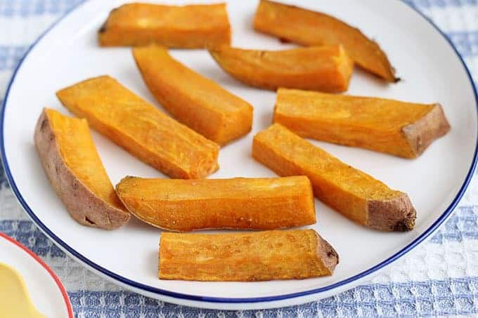 roasted sweet potato on white plate