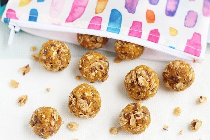 granola bites in reusable bag