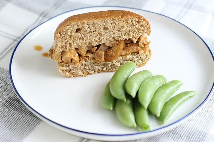 instant pot chicken sandwich on white plate