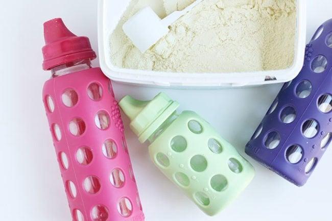 toddler formula with colorful bottles