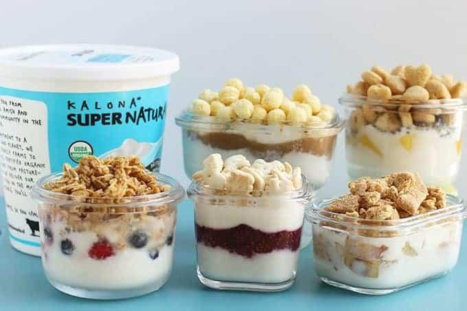 yogurt parfaits with kalona container