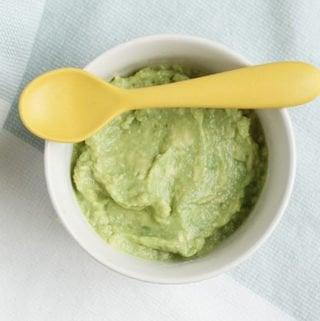 avocado puree in white bowl
