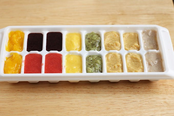 homemade baby food in ice cube tray