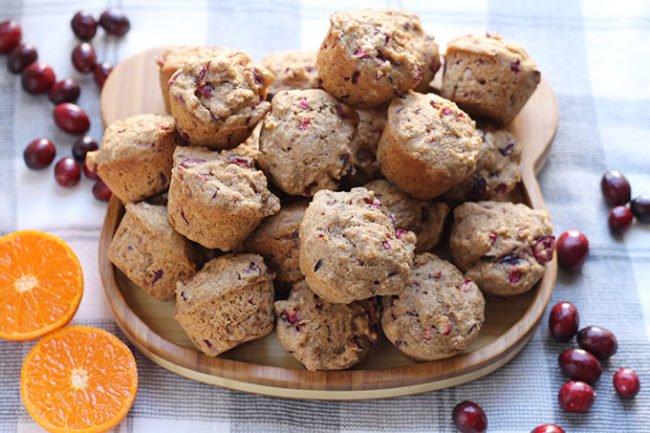 mini cranberry orange muffins on plate