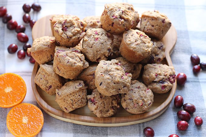 mini cranberry orange muffins on plate