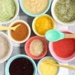 no cook baby food purees in small bowls