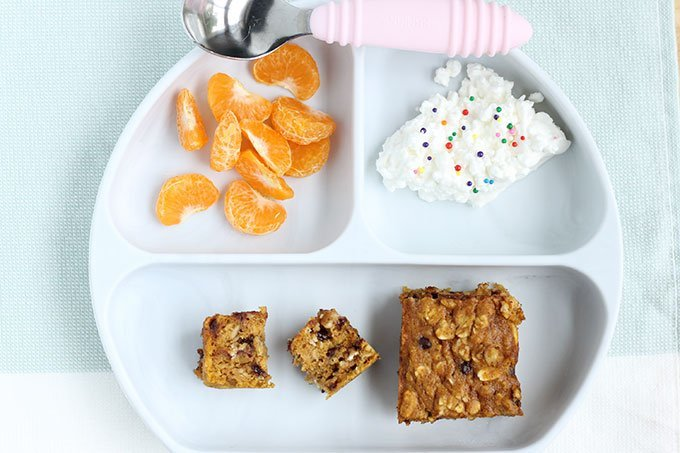 pumpkin bars on kids plate
