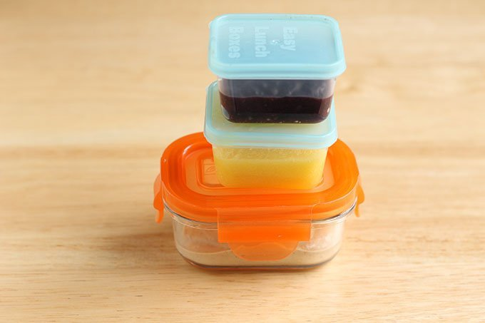 homemade baby food in storage containers