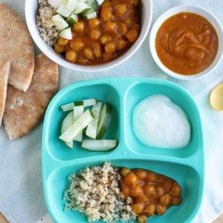 chana-masala-for-family with three plates