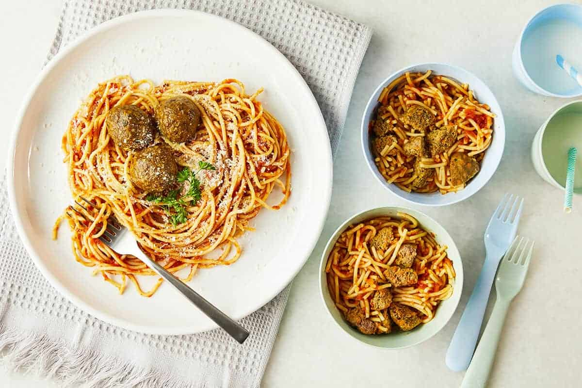 healthy-meatballs-on-adult-and-kids-plate