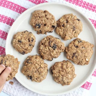 healthy-oatmeal-raisin-cookies-with-toddler-hand