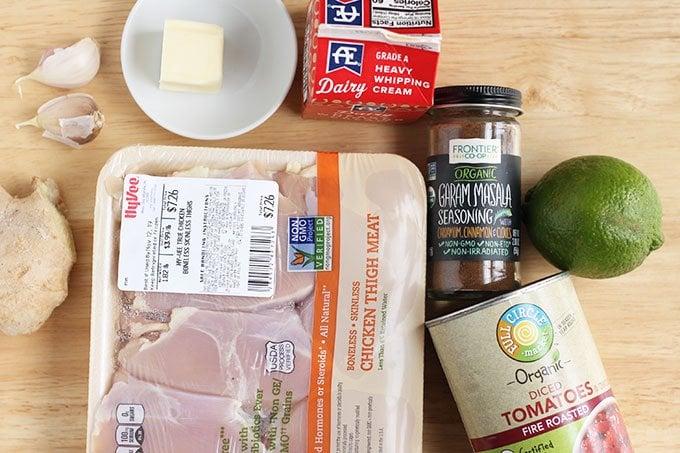 ingredients in instant pot butter chicken