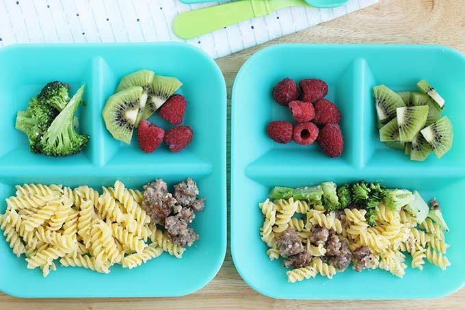 kid-servings-of-skillet-sausage-pasta