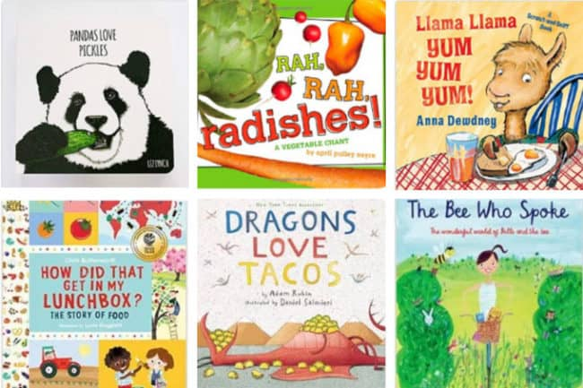 kids books about food in grid of 6