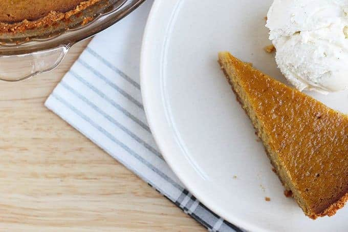 slice of butternut squash pie on plate