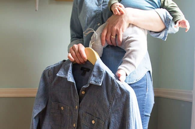 woman-holding-baby-with-denim-shirts
