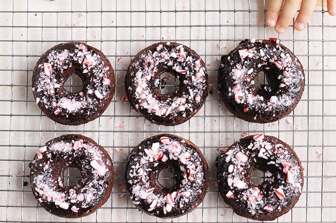 baked chocolate donuts-on-wire-rack