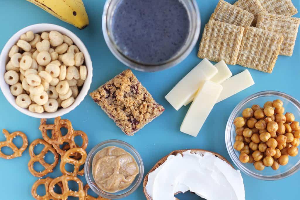 pregnancy-snacks-on-blue-cutting-board