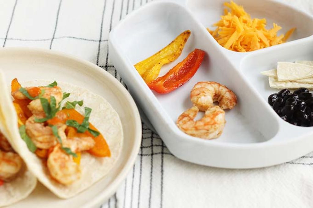 shrimp fajitas for kids and parents on plates
