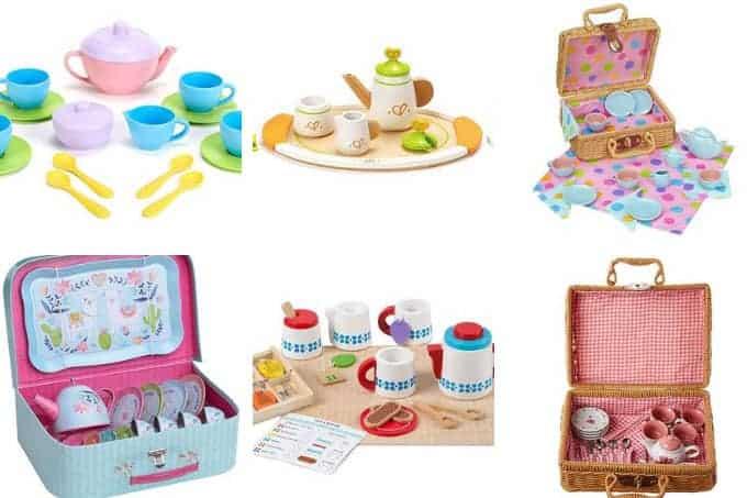 grid of 6 toddler tea sets