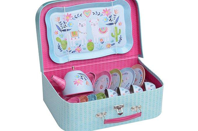 tin tea set in carrying case