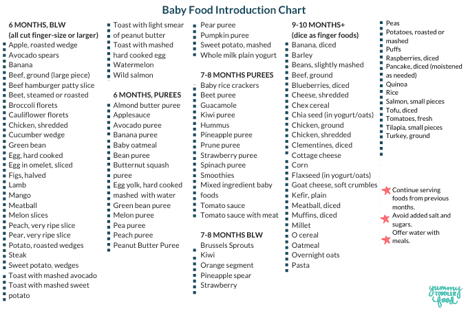Printable Baby Food Chart Blw Purees Finger Foods