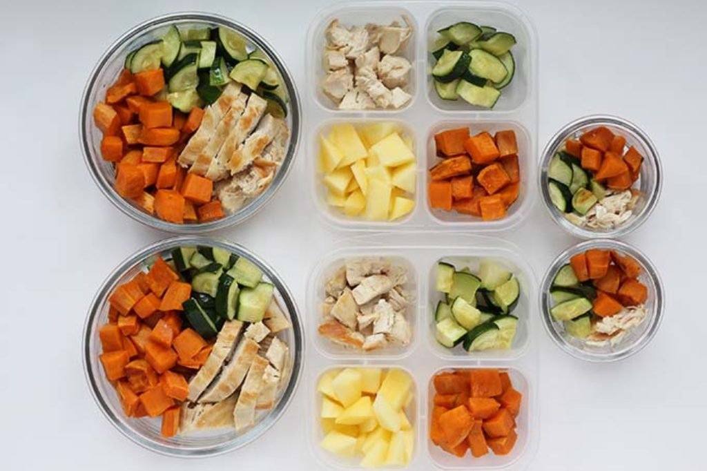 chicken and sweet potato lunch prep in containers