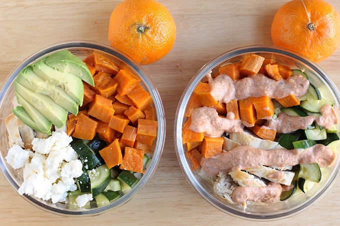 chicken and sweet potato lunch prep with sauces