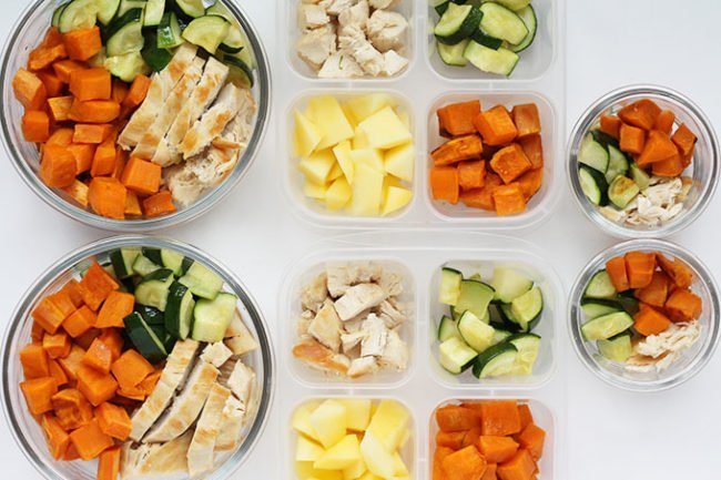 chicken and sweet potato lunch prep for family