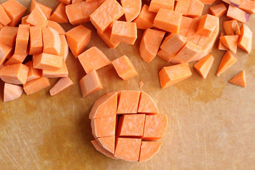 how to dice sweet potatoes
