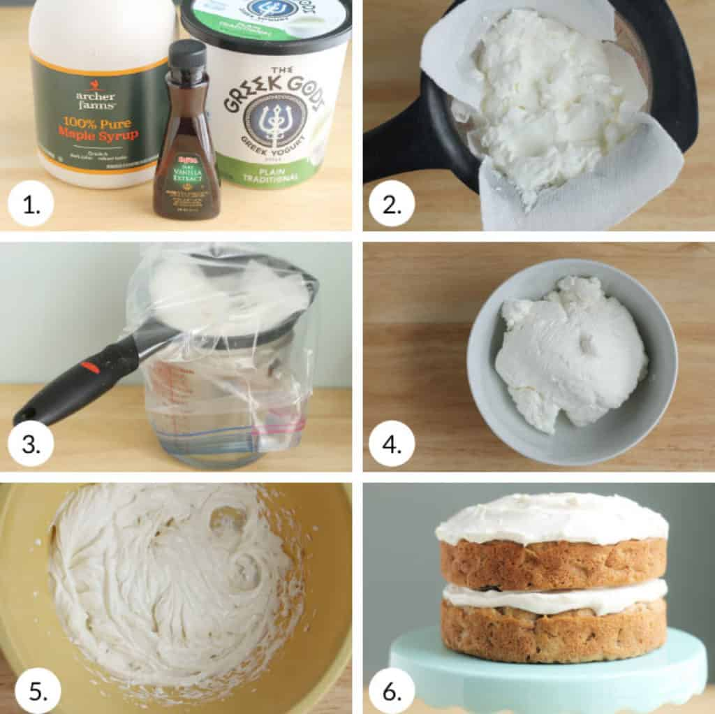 how-to-frost-healthy-apple-cake-step-by-step with yogurt frosting