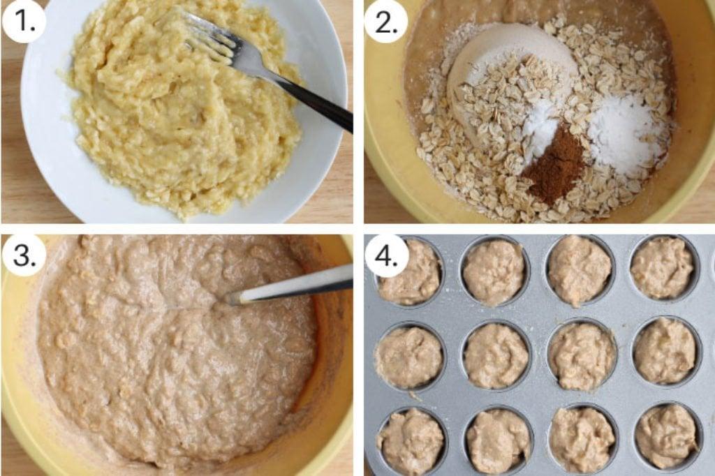 how to make sugar free banana muffins step by step