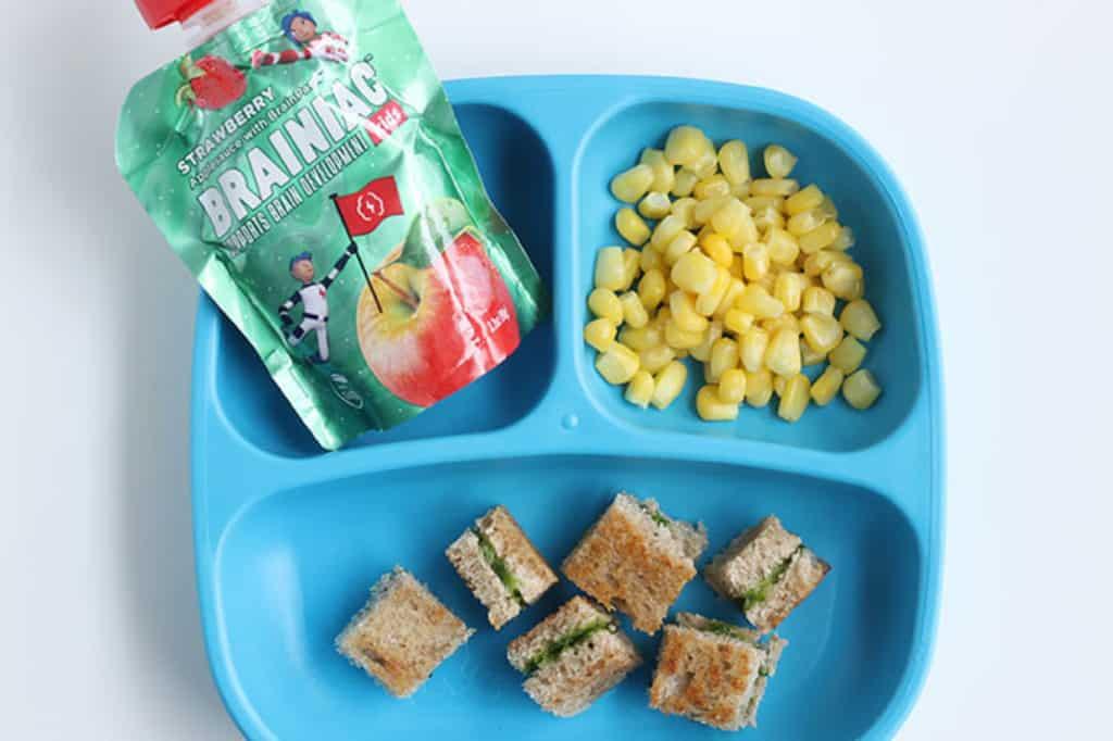 kids-blue-plate-with-sandwich,-corn,-applesauce