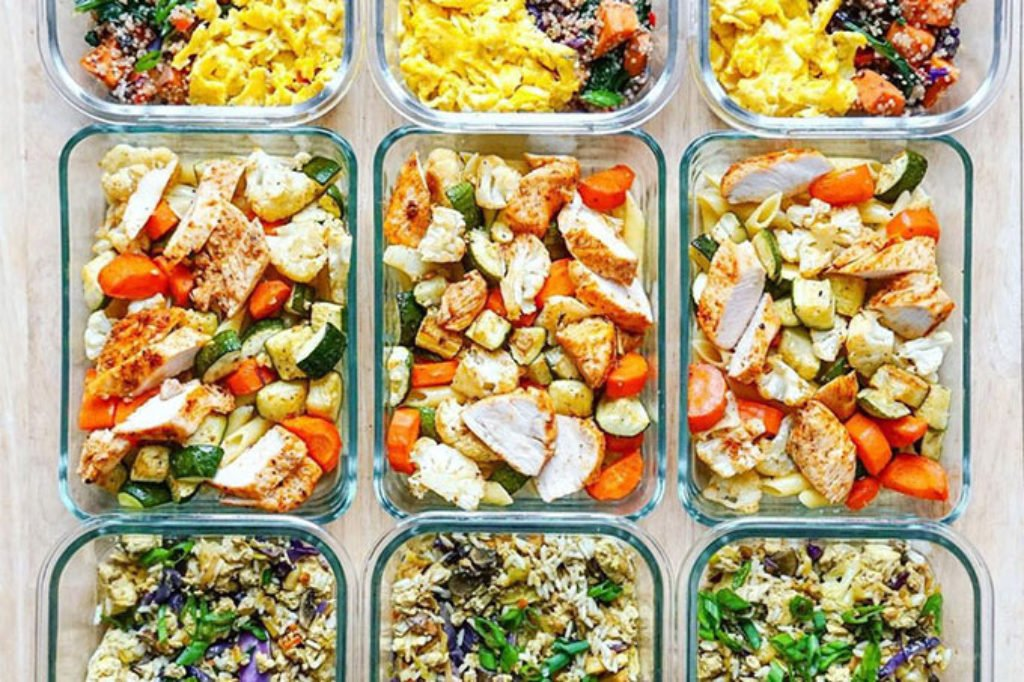 meal prepped lunches in containers