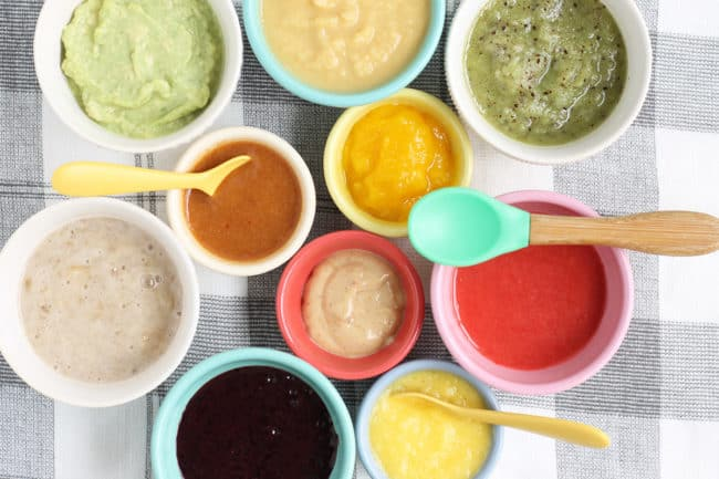 no-cook-baby-food-purees-in-bowls