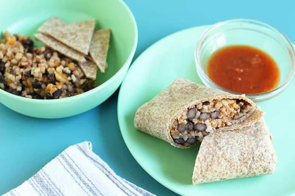 rice and bean burritos