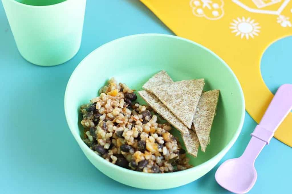 deconstructed burrito for toddler in bowl