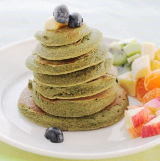 spinach-banana-pancakes-on-white-plate