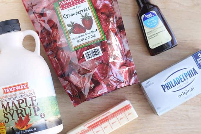 ingredients in strawberry cream cheese frosting